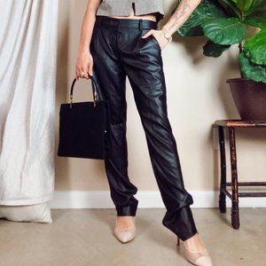 DVF Black Sheen Leather Look Trouser Tapered Pants